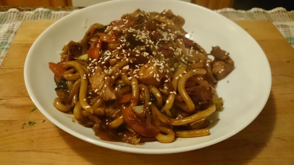 Spicy pork udon noodles