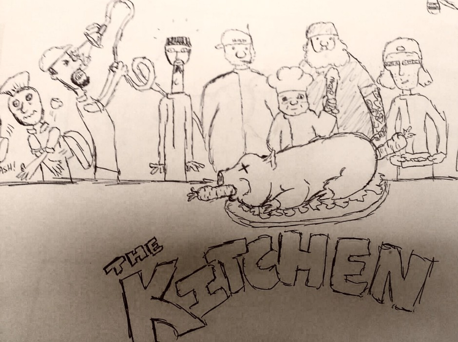 Hand drawn charactuer of a kitchen staff